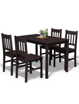 Costway 5 Pcs Solid Pine Wood Dining Set Table And 4 Chairs Home Kitchen Furniture Brown by Generic