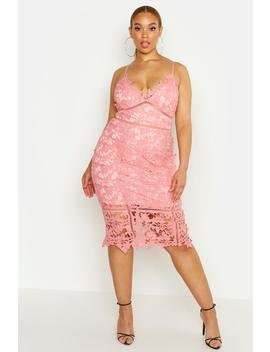 Plus Premium Crochet Lace Stappy Midi Dress by Boohoo