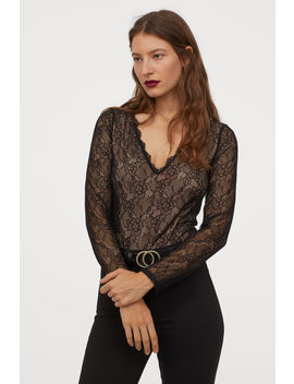 V Neck Lace Bodysuit by H&M