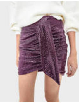 Sequined Skirt With Ruched Detail by Bershka