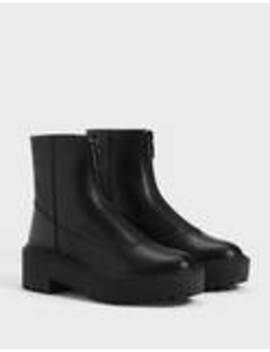 Leather Ankle Boots With Zippers by Bershka