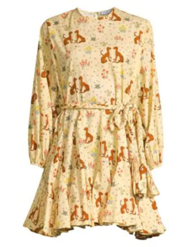 Ella Belted & Printed Cotton Dress by Rhode