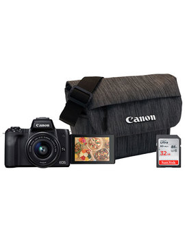 Canon Eos M50 Mirrorless Camera With 15 45 Lens, Memory Card & Bag by Best Buy