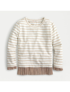 Girls' Striped Long Sleeve T Shirt With Metallic Ruffle by J.Crew