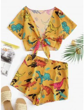 Sale Tie Front Dinosaur Cropped Top And Shorts   Bee Yellow L by Zaful