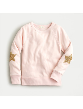 Girls' Crewneck Sweatshirt With Sequin Star Elbow Patches by J.Crew