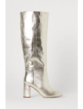 Shimmering Leather Boots by H&M
