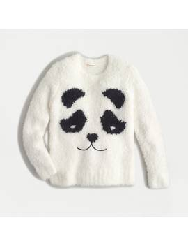 Girls' Fuzzy Panda Crewneck Sweater In Bubble Yarn by J.Crew