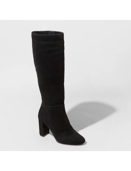 Women's Brandee Microsuede Heeled Riding Boots   A New Day™ by A New Day