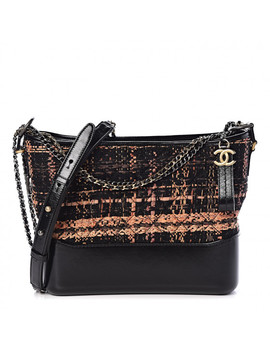 Chanel Tweed Calfskin Quilted Medium Gabrielle Hobo Black by Chanel