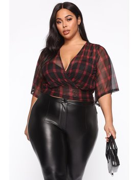 The Most Flattering Blouse   Red/Black by Fashion Nova