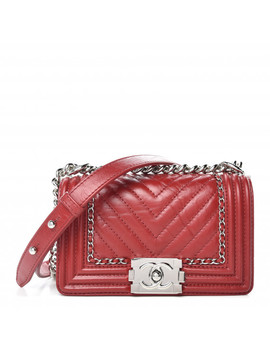 Chanel Aged Calfskin Chevron Small Jacket Boy Flap Red by Chanel