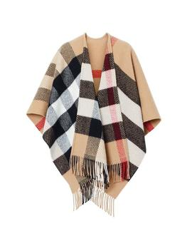 Checked Wool And Cashmere Poncho/Cape by Burberry
