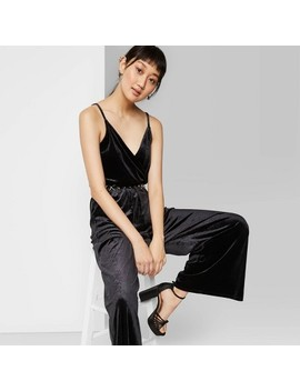 Women's Sleeveless V Neck Velvet Wrap Jumpsuit   Wild Fable™ Black by Wild Fable