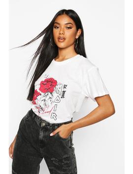 Rose Noir Tour Slogan T Shirt by Boohoo