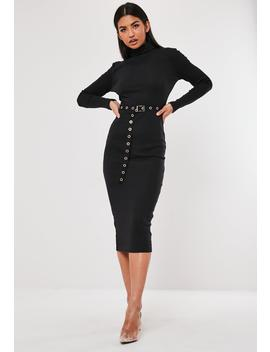Tall Black Roll Neck Rib Belted Midi Dress by Missguided