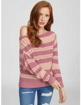 Luna Striped Off Shoulder Sweater by G By Guess