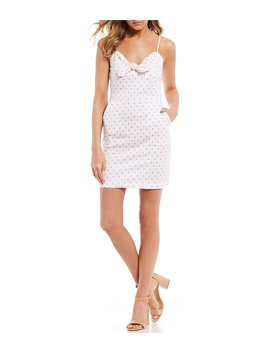 Dotted Tie Front Pocket Dress by Gb