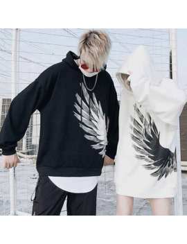 Japanese Street Hip Hop Feather Print Hoodies Cotton Terry Hip Hop Style Swag Tyga Hoodie Autumn Hoodies by Ali Express.Com