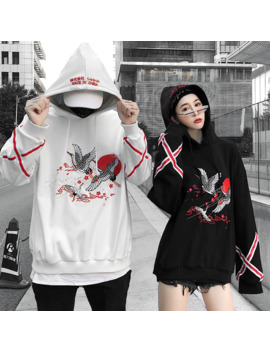 Japanese Street Crane Embroidery Thickening Hooded Hoodies Fleece Men And Women Lovers Loose Hip Hop Hoody by Ali Express.Com
