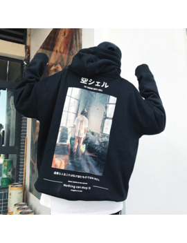 Japanese Street Solid Cotton Oversize Hoodies Hip Hop Style Swag Tyga Kanji Hoodie Autumn Winter Hoodies Us Size S Xl by Ali Express.Com