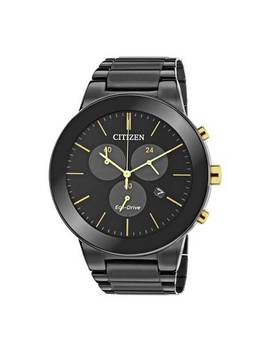 Citizen Eco Drive Axiom Men's Black Steel Chronograph Watch804/6970 by Argos