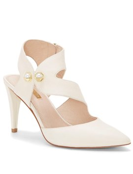 Jara Leather Pearl Detail Pumps by Louise Et Cie
