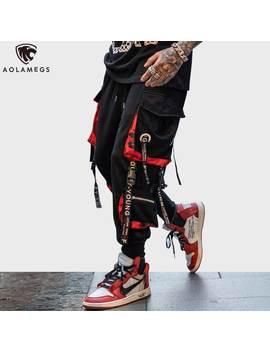 Aolamegs Pants Men Block Hit Color Pocket Track Pants Male Fashion Trousers Elastic Waist Hip Hop Joggers Sweatpants Streetwear by Ali Express.Com