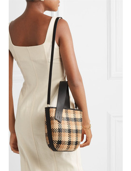 Panier Saigon Leather Trimmed Checked Woven Raffia Shoulder Bag by Tl 180
