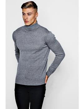 Long Sleeve Knitted Roll Neck Sweater by Boohoo