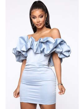 Throwing It Back Mini Dress   Dusty Blue by Fashion Nova