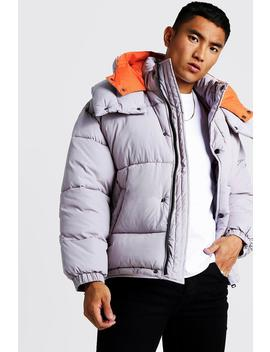 Oversized Hood Contrast Lining Puffer by Boohoo