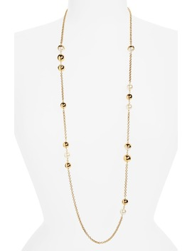 Imitation Pearl Station Necklace by Tory Burch