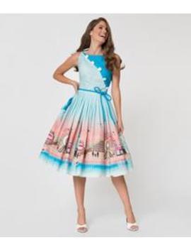 Unique Vintage 1950s Style Blue Boardwalk Print Hamilton Swing Dress by Unique Vintage