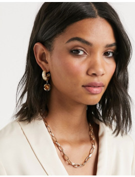 Freedom At Topshop Gold Hoops With Orange Stone Detail by Topshop