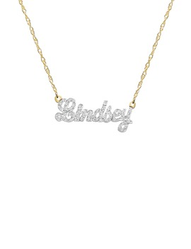 Jane Basch Personalized Nameplate Diamond Pendant Necklace by Jane Basch Designs