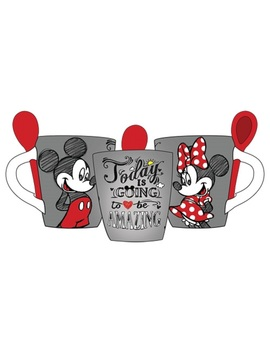Disney Mickey Minnie Amazing Day 11oz Mug W/Spoon, Gray Red by Save Max