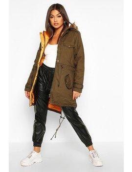 Faux Fur Trim Parka Jacket by Boohoo