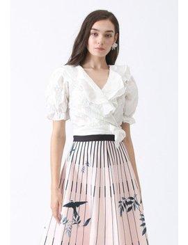 I'm Twenty Ruffle Wrap Crop Top In White Birds Print Stripes A Line Midi Skirt Shock Me Into Love A Line Skirt In Violet Shock Me Into Love A Line Skirt In Kahki I'm Twenty Ruffle Wrap Crop Top In Black by Chicwish