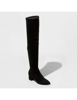Women's Naviah Faux Leather Heeled Over The Knee Boots   A New Day™ by A New Day