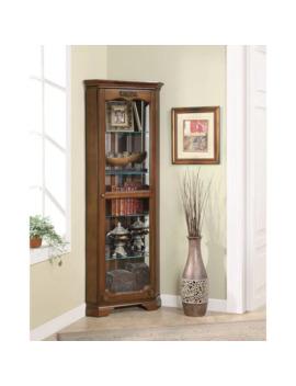 "Coaster Company Deep Brown 5 Shelf Corner Curio Cabinet   28"" X 16"" X 72"" by Coaster"