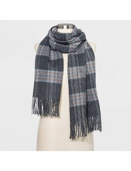 Women's Plaid Oblong Scarves   A New Day™ Gray One Size by A New Day