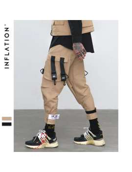 Inflatlion Loose Fit Elastic Waist Cargo Pants Street Ankle Banded Pants Large Pockets Casual Pants Fashion Cargo Pants 8884 W by Ali Express.Com