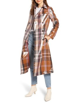 Water Resistant Plaid Glossy Trench Coat (Nordstrom Exclusive) by Something Navy