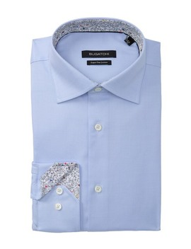 Solid Shaped Fit Dress Shirt by Bugatchi