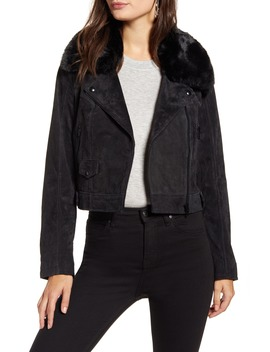 Removable Faux Fur Collar Suede Moto Jacket by Blanknyc