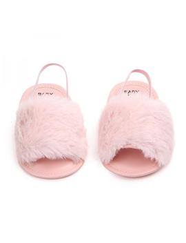 Lavaport Baby Infant Girls Faux Fur Sandals Soft Sole Shoes Plush Slide by Lavaport