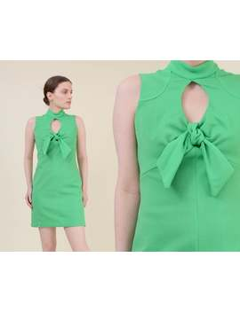Vintage Lime Green Mini Dress | Size Xs S | Cut Out Keyhole Dress | Empire Waist Mockneck Dress | Extra Small by Etsy