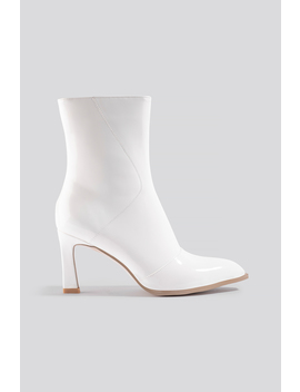 Glossy Patent Low Boots White by Na Kd Shoes
