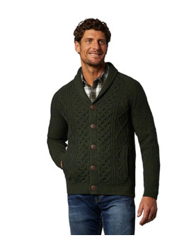 Men's Heritage Cable Knit Button Cardigan by Wind River
